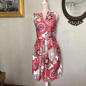 Pink and grey floral work dress